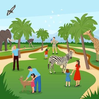 Escena de dibujos animados de zoológico