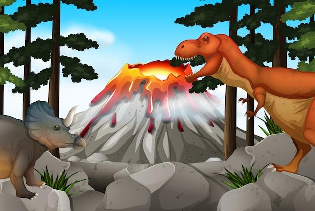 Escena con dinosaurios y volcanes.