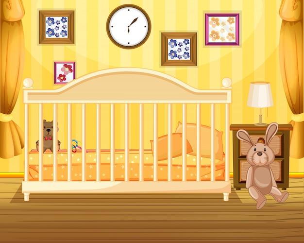 Escena del dormitorio en amarillo
