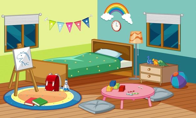 Escena del dormitorio con cama y muchos juguetes en la habitación.