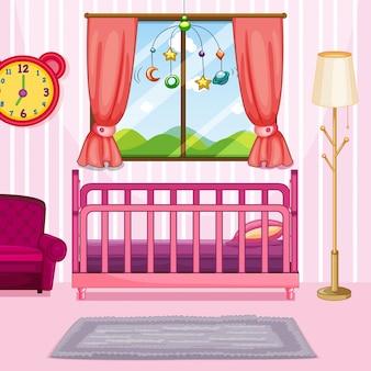 Escena del dormitorio con cama rosa