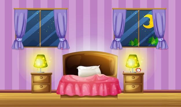 Escena de dormitorio con dos ventanas.