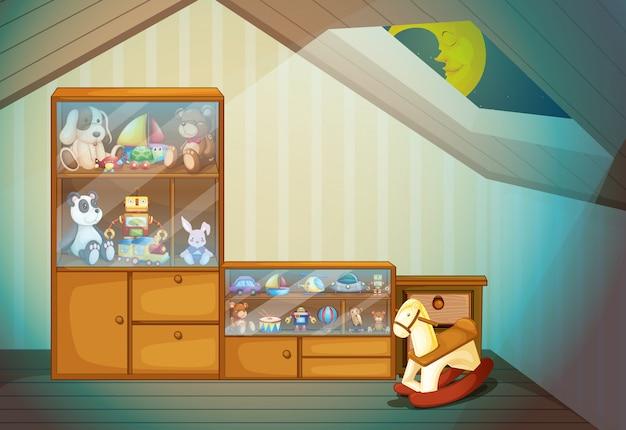 Escena de dormitorio con ilustración de juguetes