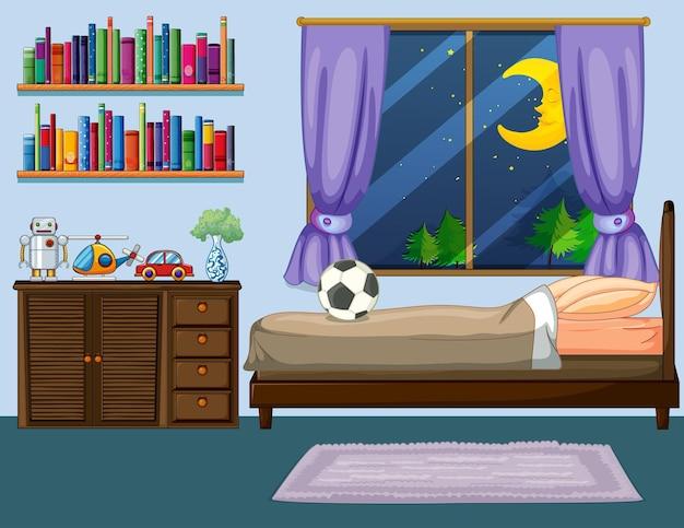 Escena de dormitorio con muebles de madera.