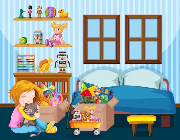 Escena de dormitorio con niña y gato en el piso