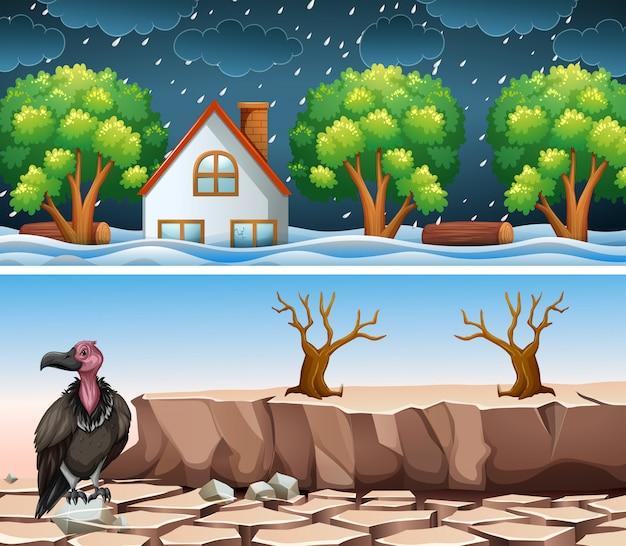 Escena de dos desastres con inundaciones y sequías.
