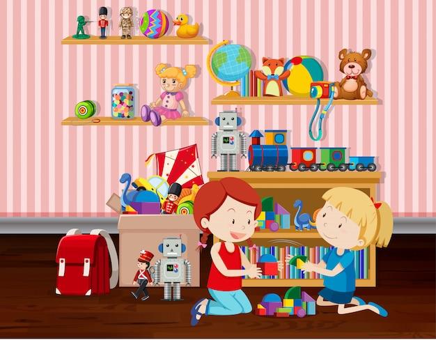 Escena con dos niñas jugando bloques en la ilustración de la habitación
