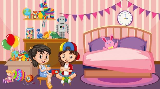 Escena con dos niñas jugando en el dormitorio