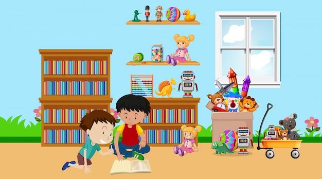 Escena con dos niños jugando en la habitación.