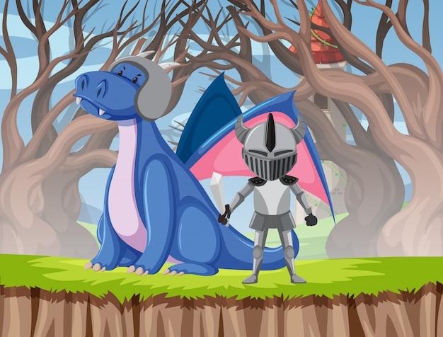 Escena de dragón y caballero