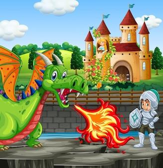 Escena con dragon y caballero