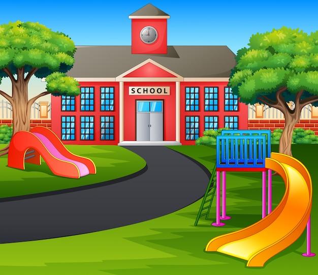 Escena con edificio escolar y parque infantil