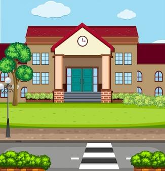 Una escena de edificio escolar