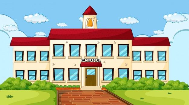 Escena del edificio de la escuela grande