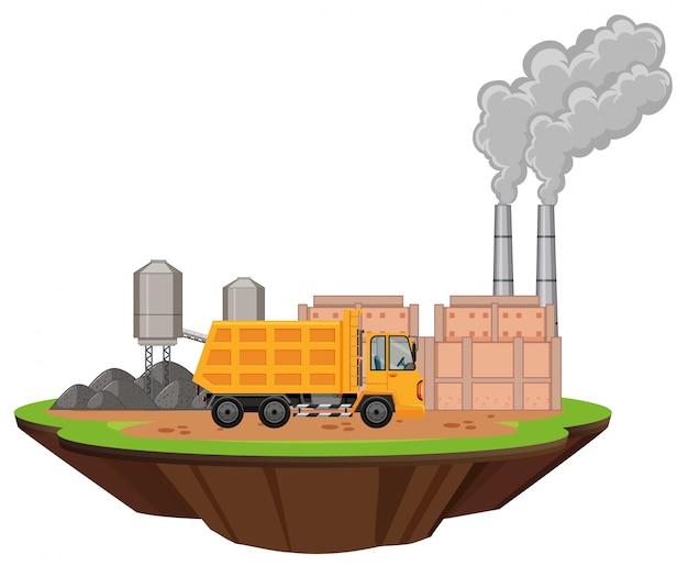 Escena con edificios de fábrica y camión volquete en el sitio