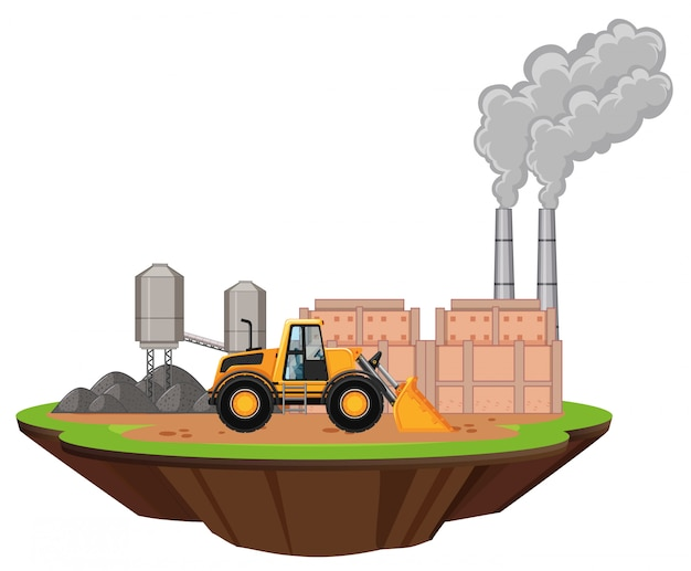 Escena con edificios de fábrica y excavadora en el sitio
