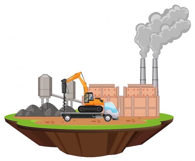 Escena con edificios de fábrica y taladro en el sitio