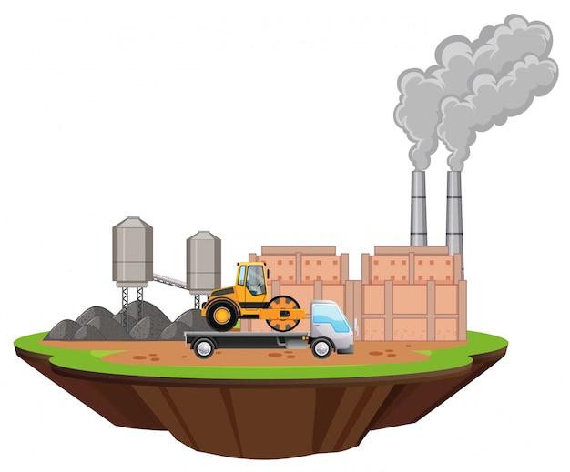 Escena con edificios de fábricas y camiones en el sitio.
