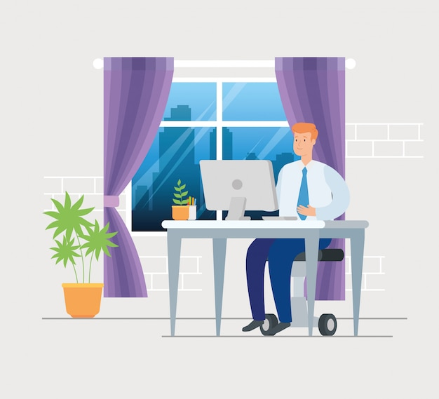 Escena del empresario trabajando en casa, diseño de ilustración