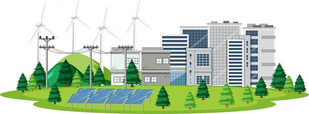 Escena con energía limpia en la ciudad.
