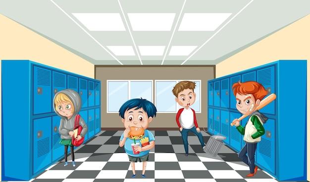 Escena escolar con personaje de dibujos animados de estudiantes