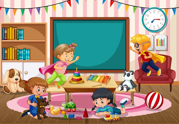 Escena de la escuela de jardín de infantes con niños jugando juguetes en la habitación.