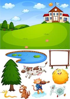 Escena de la escuela con objetos y personajes de dibujos animados aislados