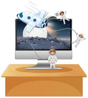 Escena espacial en el fondo del escritorio de la computadora