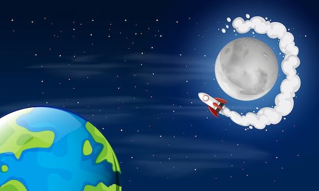 Escena espacial tierra y luna
