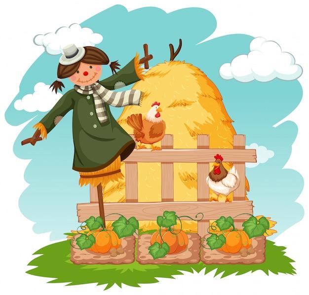 Escena con espantapájaros y pollos en huerta