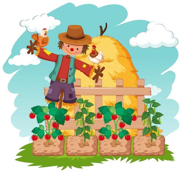 Escena con espantapájaros y verduras en la granja