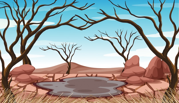Escena con estanque de barro y árboles secos.