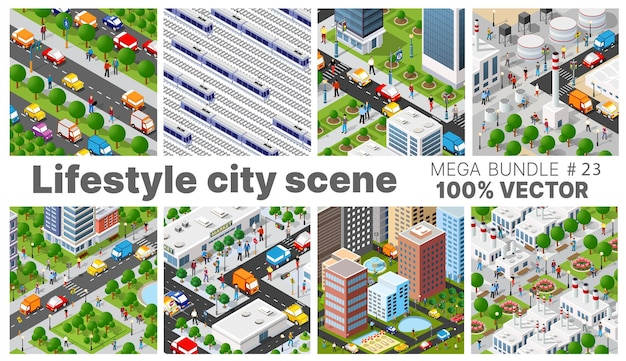 La escena del estilo de vida de la ciudad estableció ilustraciones sobre temas urbanos con casas