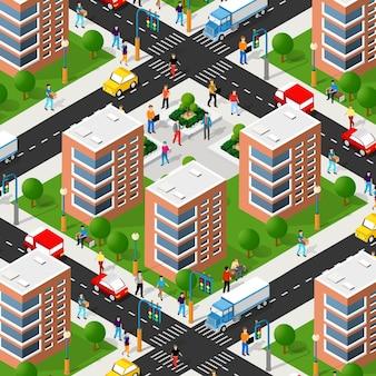 Escena de estilo de vida urbana ilustración 3d isométrica de un bloque de la ciudad con casas, calles, personas, coches. ilustración para la industria del diseño y los juegos.