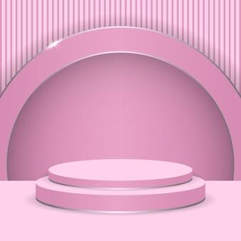 Escena de exhibición redonda abstracta del podio rosa para el producto