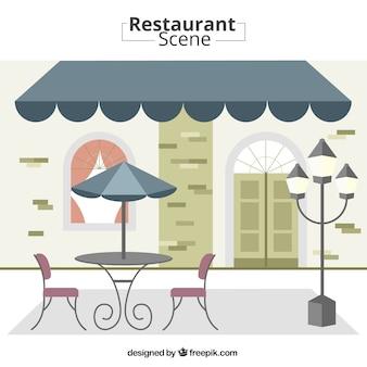 Escena exterior de restaurante
