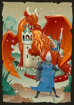 Escena de fábula con dragón, castillo medieval, princesa y caballero. ilustración, vertical.