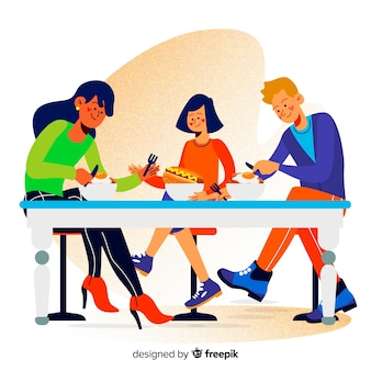 Escena familia comiendo juntos dibujada a mano