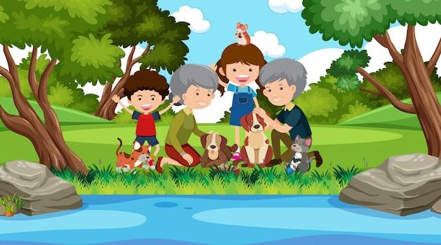 Escena con familia feliz en el parque verde