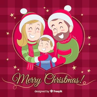 Escena de familia en navidad dibujada a mano