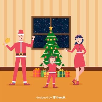Escena de familia en navidad en diseño plano