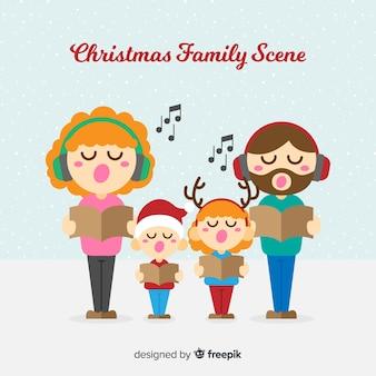 Escena de familia en navidad