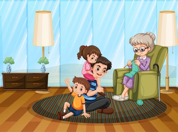 Escena con la familia pasando un buen rato en casa