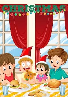 Escena con familia teniendo comida en navidad