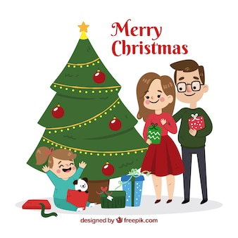Escena familiar de navidad en diseño plano