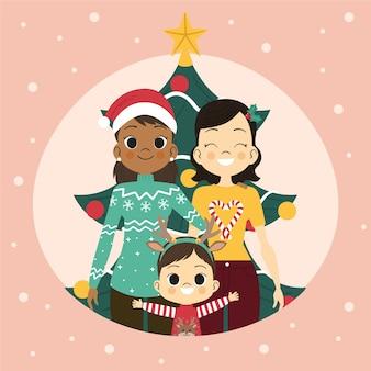Escena familiar homosexual de navidad