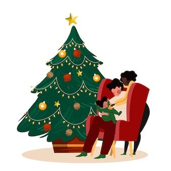 Escena familiar de navidad con hermoso árbol y gente sentada en una silla