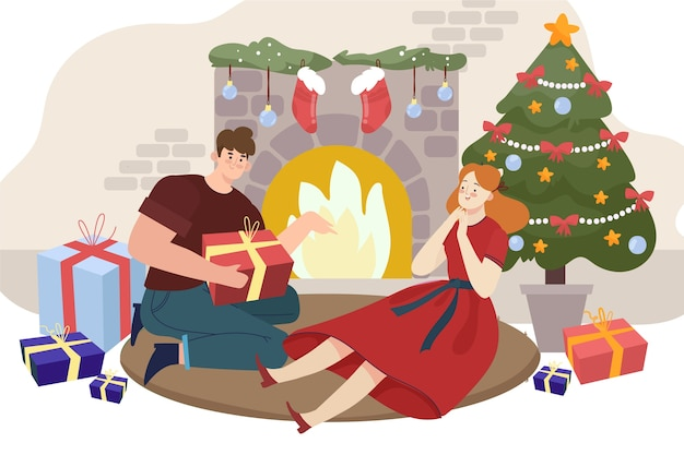 Escena familiar de navidad con hombre ofreciendo un regalo