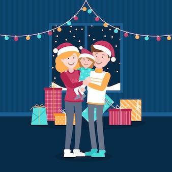 Escena familiar de navidad con luces de colores
