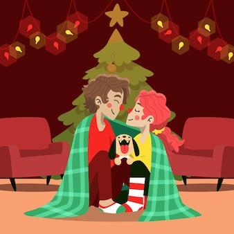 Escena familiar de navidad con perro